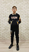 Костюм спортивный детский для мальчиков  #2105 black. р-р 110-150. Цвет черный