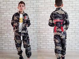 Костюм спортивный детский для мальчиков  #81003 army blue. р-р 110-150. Цвет синий