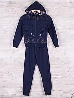 Костюм спортивный детский для девочек  #86799 navy. р-р 128-152. Цвет синий
