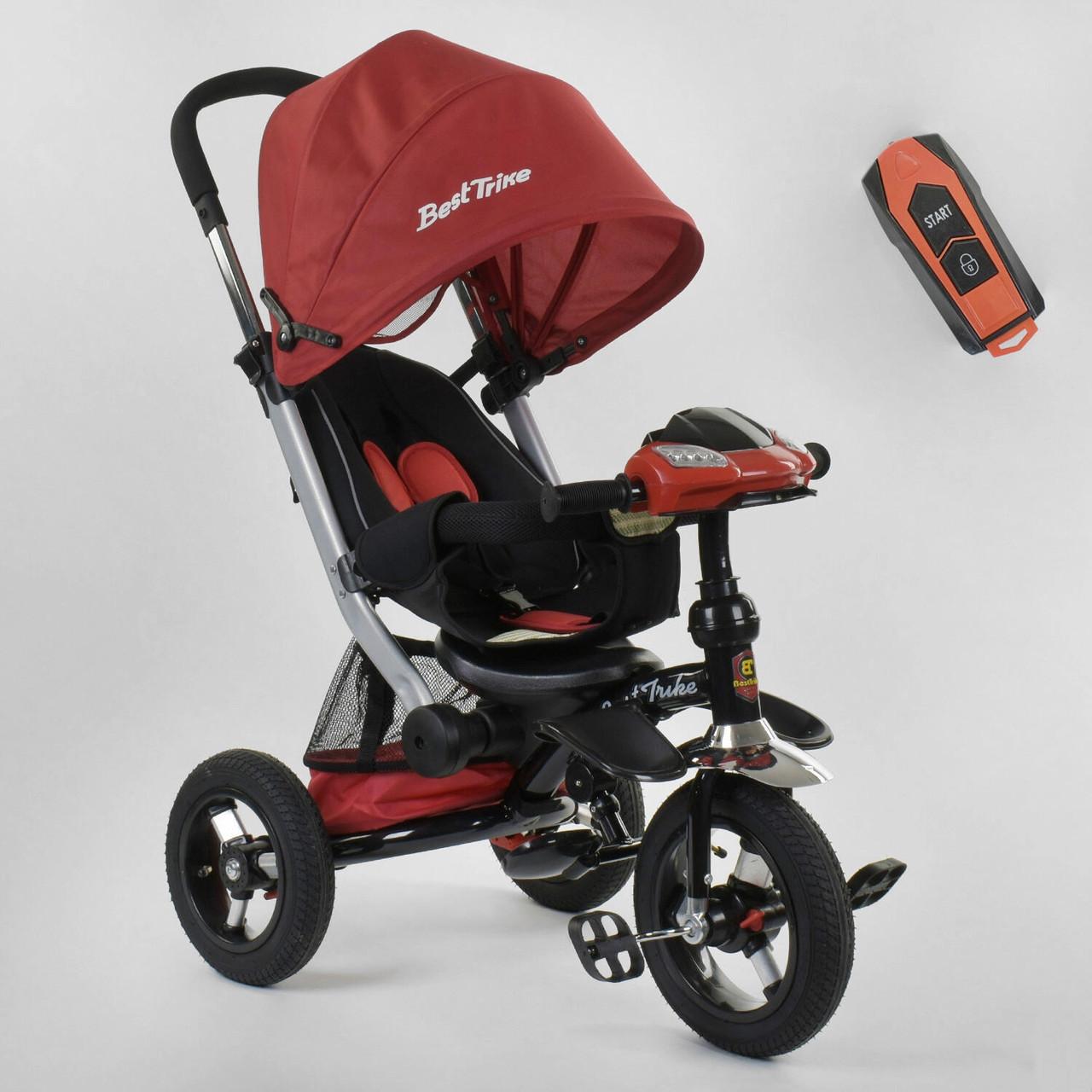Трехколесный велосипед с фарой и надувными колесами Best Trike 698 / 31-226 Красный (НАДУВНЫЕ)