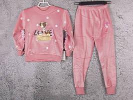 Костюм спортивний дитячий для дівчаток #3-2 peach. р-р 75-90. Колір персиковий