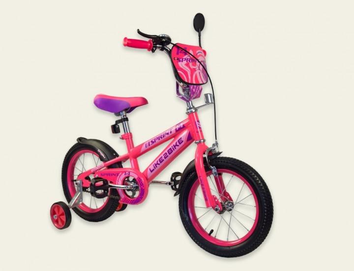 Двоколісний дитячий велосипед 16 дюймів Like2bike Sprint 191632 Рожевий з бічними колесами тренувальними