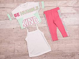 Костюм детский летний для девочек  #K263 3-йка white-pink (5-8). р-р 5-8. Цвет белый