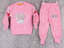 Костюм спортивний дитячий для дівчаток #2-7 l.pink. р-р 55-70. Колір рожевий