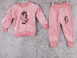 Костюм спортивний дитячий для дівчаток #2-4 peach. р-р 55-70. Колір персиковий