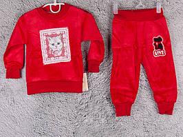 Костюм спортивний дитячий для дівчаток #2-1 red. р-р 50-70. Колір червоний