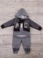 Костюм спортивний дитячий для дівчаток #K52 grey. р-р 0.6-1. Колір сірий