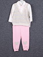 Костюм спортивный детский для девочек  #2712 beige-pink 2й-ка. р-р 6-12. Цвет бежевый