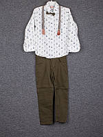 Костюм спортивный детский для мальчиков  #6085 white-khaki 2й-ка. р-р 5-8. Цвет белый