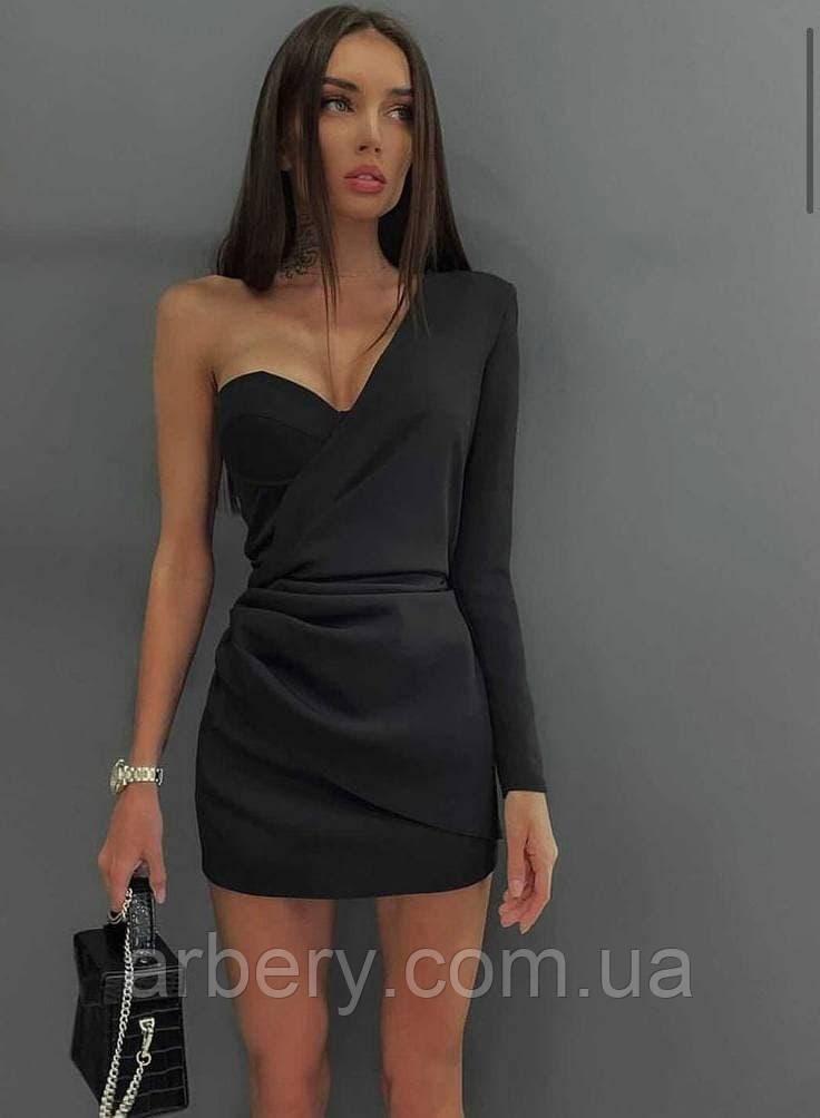 Шикарне коктейльне плаття з одним рукавом