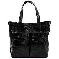 Большая кожаная черная сумка  под рептилию, фото 1