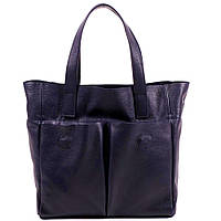 Большая кожаная тёмно-синяя сумка под рептилию, фото 1