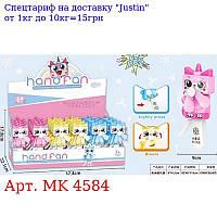 Вентилятор MK 4584 механічні,  котик 16см,  24шт (3цвета) в дисплеї 38-18-22см