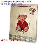 """Пакет 23 * 18 * 8 """"Мишка в червоному"""" / Крафт"""