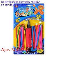 Кульки надувні MK 0301 для моделювання,  размер9,  прозорий,  24шт,  насос,  на аркуші,  29-17-2см