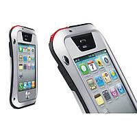 Чехол противоударный Love Mei Gorilla Glass для Apple iPhone 4 4S серебро