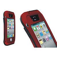 Чехол противоударный Love Mei Gorilla Glass для Apple iPhone 4 4S красный