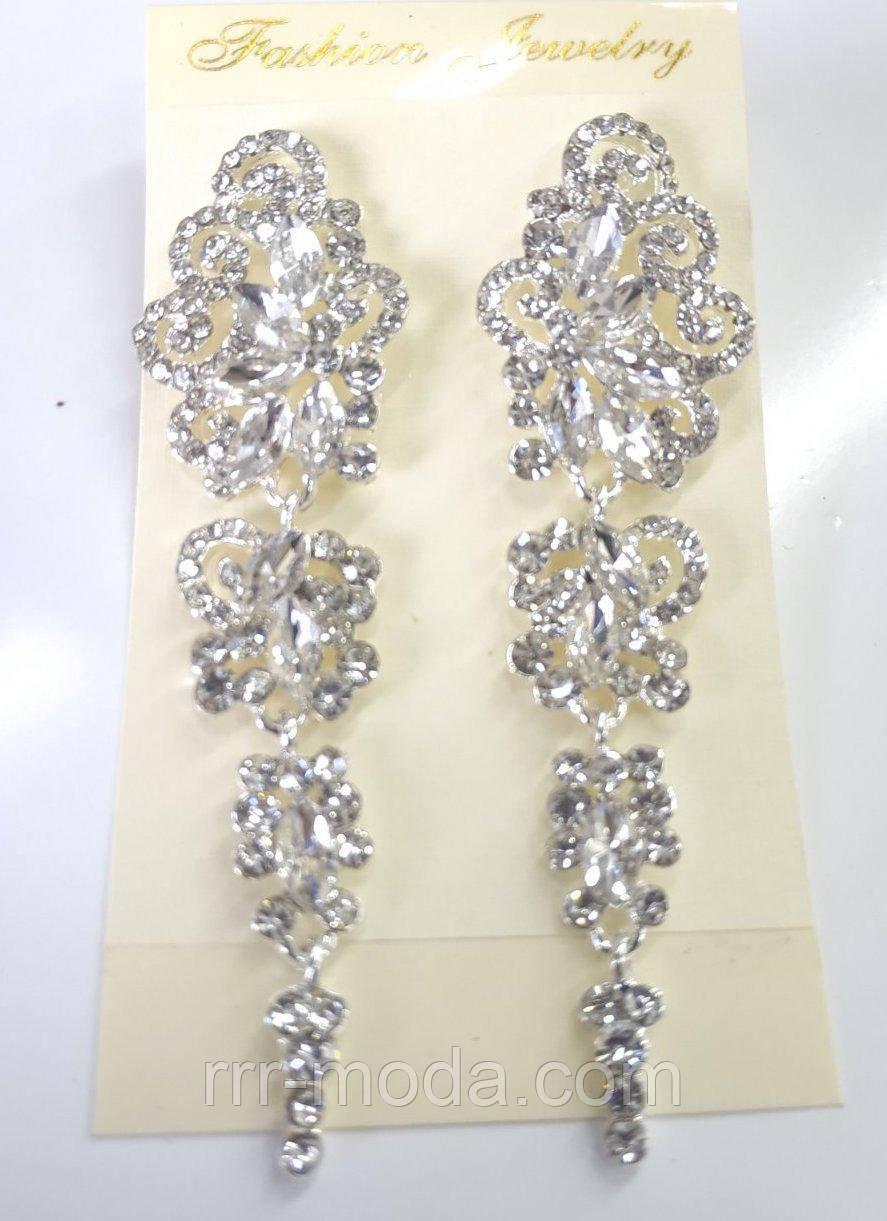 Шикарні весільні сережки з цирконієм. Білі сережки оптом 778