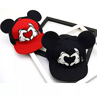 Детская кепка снепбек с ушками Микки Маус Сердце (Mickey Mouse) Disney с прямым козырьком 2, Унисекс, фото 1