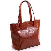Большая кожаная рыжая сумка под рептилию, фото 1