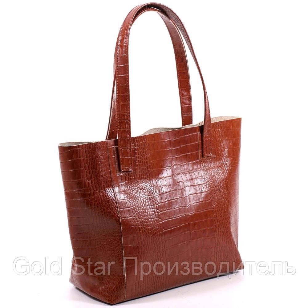 df991af64837 Большая кожаная рыжая сумка под рептилию - My Furs магазин по пошиву меха и  кожи в