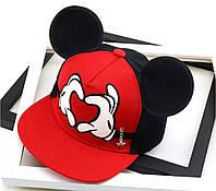 Дитяча кепка снепбек з вушками Міккі Маус Серце (Mickey Mouse) Disney з прямим козирком Червона, Унісекс, фото 1