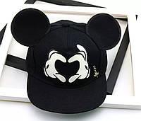 Детская кепка снепбек с ушками Микки Маус Сердце (Mickey Mouse) Disney с прямым козырьком Черная 2, Унисекс, фото 1