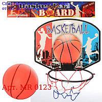 Баскетбольне кільце MR 0123 щит 28-21-картон,  кольцо17см-пластик,  сітка,  м'яч,  в кульку,  30-28-2см
