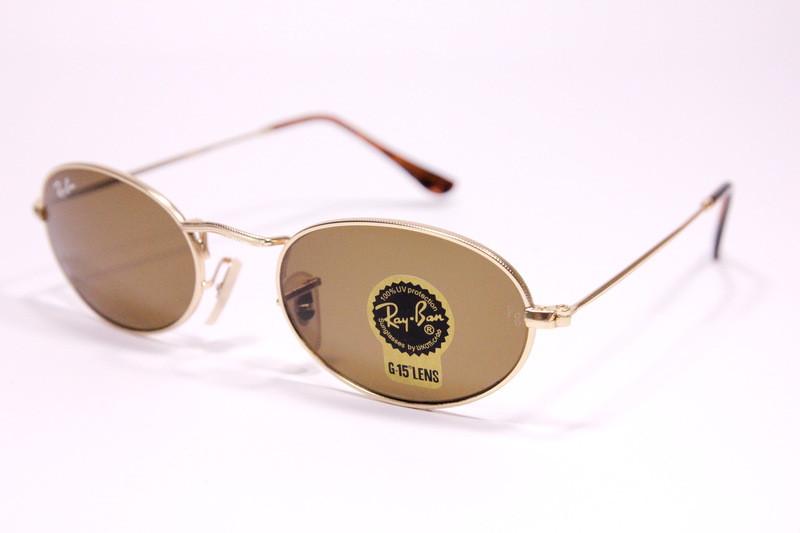Сонцезахисні овальні окуляри Рей Бен 03447 C3 репліка Коричневі в золотій оправі