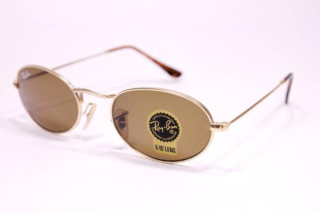 Сонцезахисні овальні окуляри Рей Бен 03447 C3 репліка Коричневі в золотій оправі, фото 2