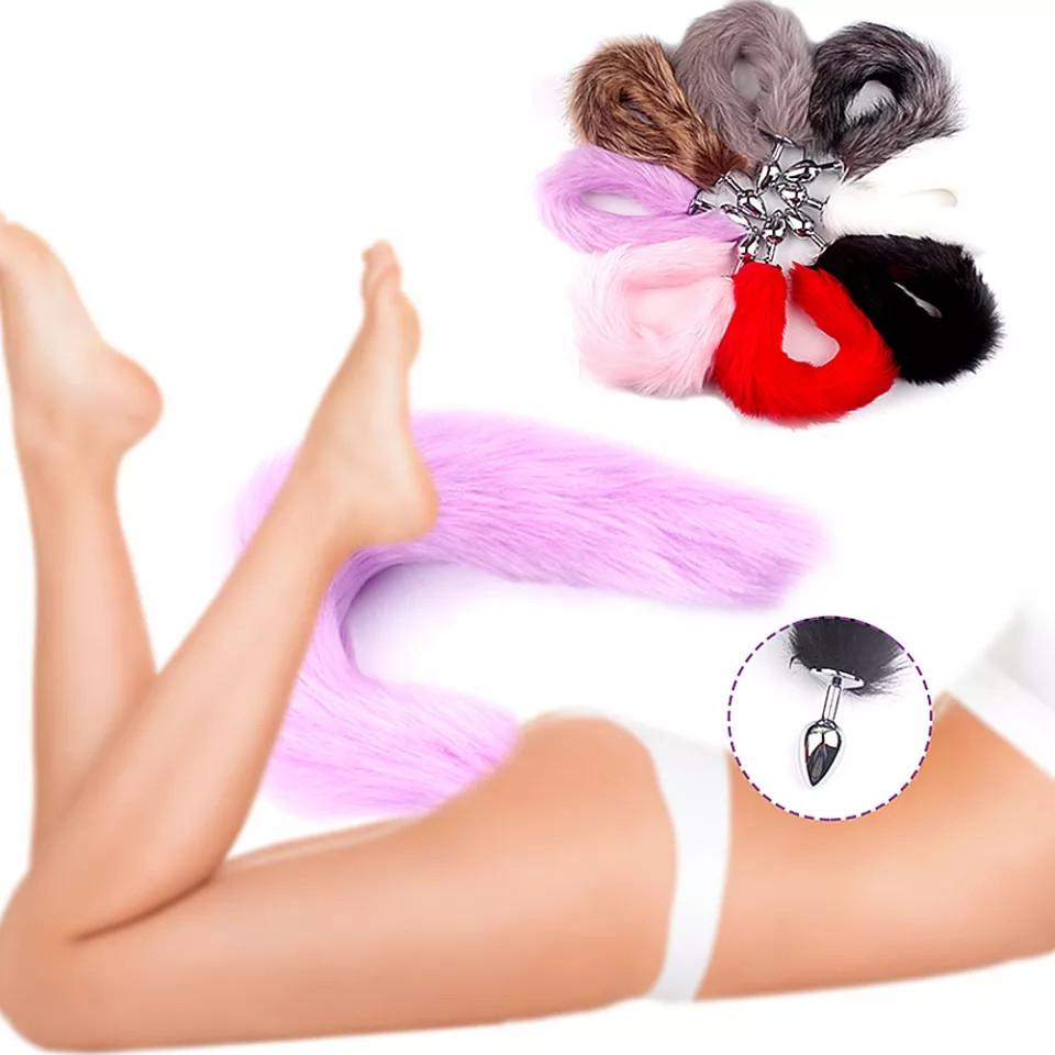 Анальна іграшка пробка хвіст пухнастий Хвостик анальний для інтимних секс ігор, анальна пробка з хвостом