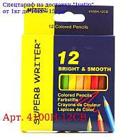 "Олівці 12 кольорів шестигранні короткі,  Superb Writer,  4100H-12CB,  TM ""Marco"""
