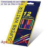 """Олівці двосторонні 12 шт, 24 кольору шестигранні,  Super Writer,  4110-12CB,  ТМ """"Marco"""""""