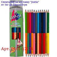 """Олівці двосторонні 12шт, 24 кольору трикутні,  Grip-Rite,  9101-12CB,  ТМ """"Marco"""""""