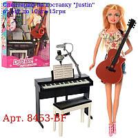 Лялька DEFA 8453-BF 29см,  піаніно16см,  стілець,  гітара,  муз,  2віда,  бат (таб),  в кор-ке,  26-32-7, 5см