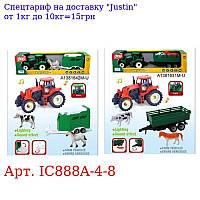 Трактор IC888A-4-8 з причепом,  інер40см,  животн,  фігурка,  зв,  св,  3в,  бат-таб,  в кор,  46, 5-12, 5-10,