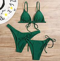 Женский роздельний красивый купальник с двума трусиками бикини и бразильяны, зеленый