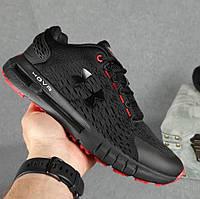 Мужские кроссовки Under Armour SHOVR летние весна осень в сетку черные с красным. Живое фото. Реплика