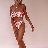 Женский раздельный купальник без брителей с лифом Бандо качество люкс (MM-434)