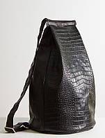 Кожаный рюкзак черного цвета под рептилию, фото 1