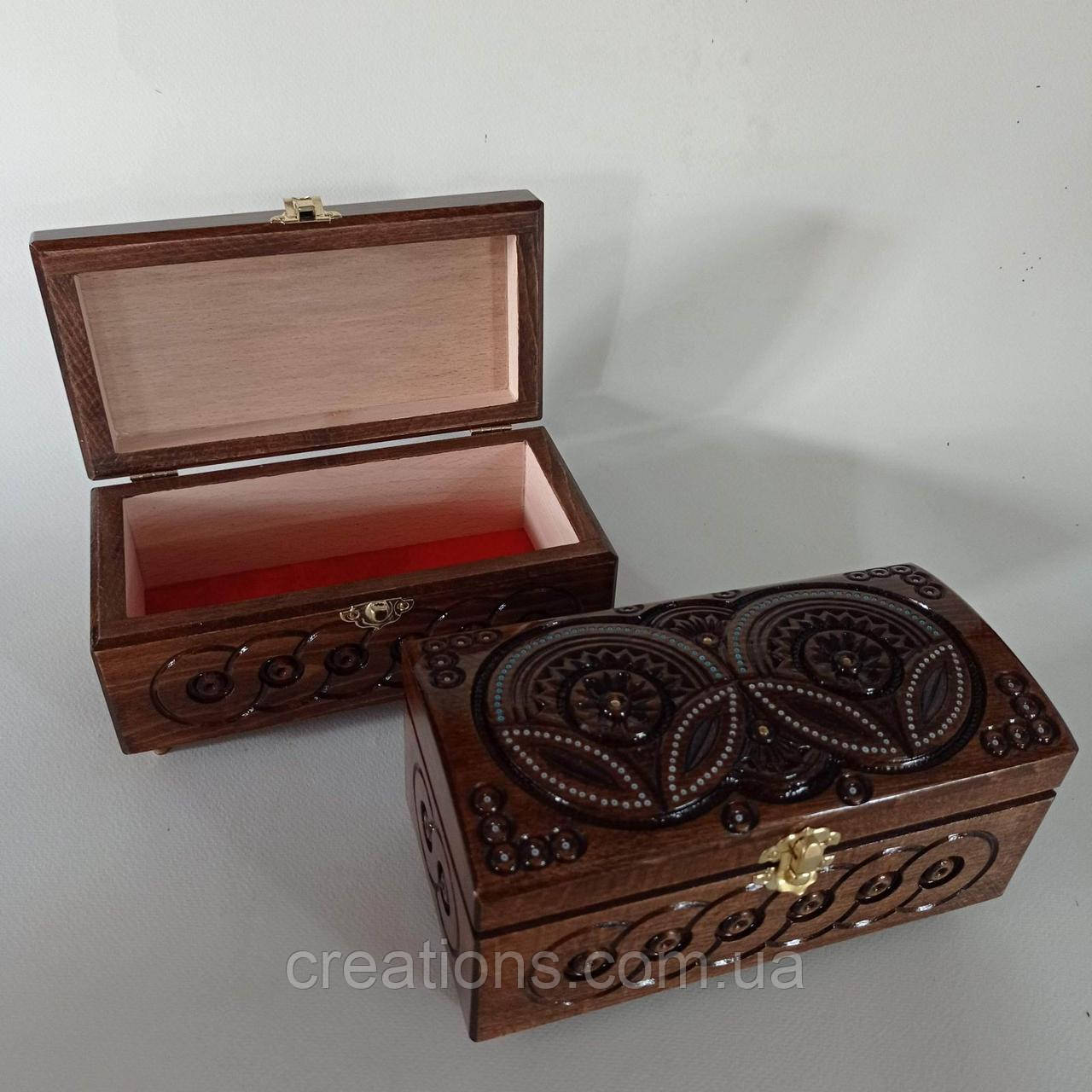 Шкатулка деревянная резная 21*10.5 для украшений, ручная работа