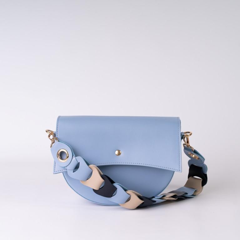 Весенняя голубая маленькая сумочка K14-20/6 женская мини кросс-боди с плетеной ручкой