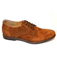 Мужские замшевые туфли рыжего цвета на шнуровке от производителя