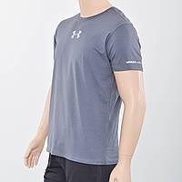 Мужская футболка Uder Armour с светоотражайками на груди и рукаве (реплика) серый
