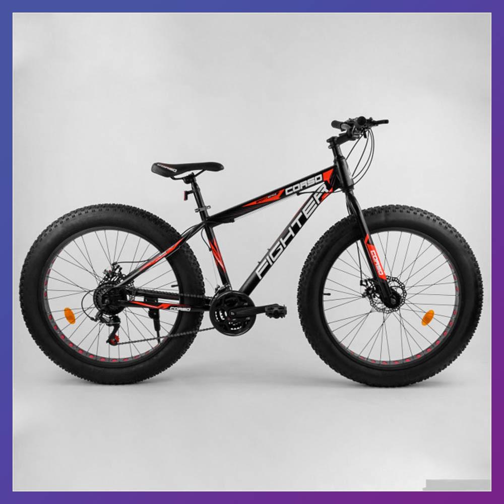 """Велосипед фэтбайк двоколісний зі швидкостями 21 шт. Corso FIGHTER 96405 26"""" колеса 15"""" рама червоний"""