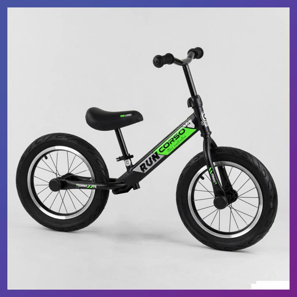 Детский беговел велобег 14 дюймов Corso CR-6247 зеленый
