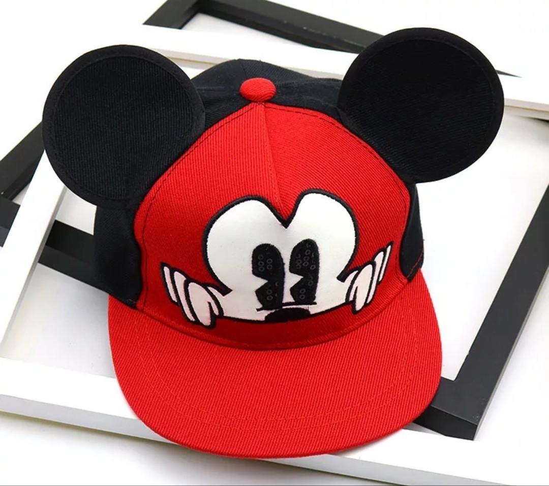 Детская кепка снепбек с ушками Микки Маус (Mickey Mouse) Disney с прямым козырьком Красная 2, Унисекс