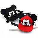 Детская кепка снепбек с ушками Микки Маус (Mickey Mouse) Disney с прямым козырьком Красная 2, Унисекс, фото 2