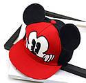 Детская кепка снепбек с ушками Микки Маус (Mickey Mouse) Disney с прямым козырьком Красная 2, Унисекс, фото 4