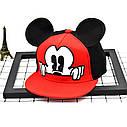 Детская кепка снепбек с ушками Микки Маус (Mickey Mouse) Disney с прямым козырьком Красная 2, Унисекс, фото 7